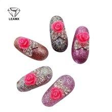 10 PCS/bag 3D Red Flowers Nail Art Decorations Rhinestone Alloy Decoration Sparkling For DIY Nails Salon Supplies