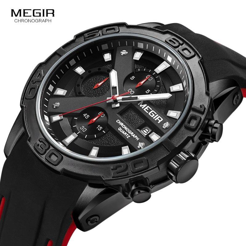 Image 2 - MEGIR Mens Fashion Sports Quartz Watches Luminous Silicone Strap Chronograph Analogue Wrist Watch for Man Black Red 2055G BK 1Quartz Watches   -