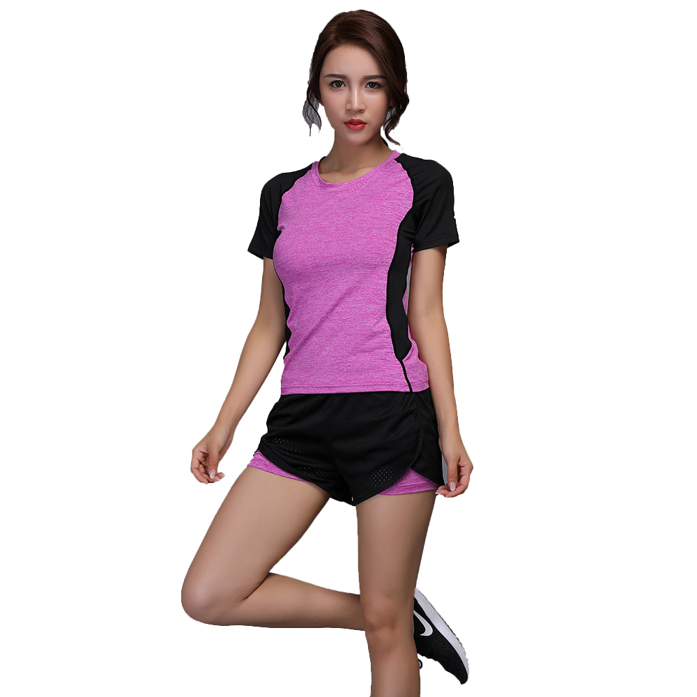 Women Yoga suit Quick Dry Round Collar Short Sleeve Shirt + Double layer Absorb Sweat Workout Training Shorts W101-4