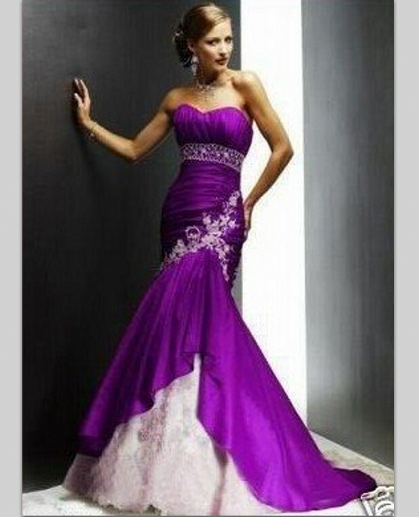 Aliexpress.com : Buy Lace Beaded Satin Mermaid Purple and White ...