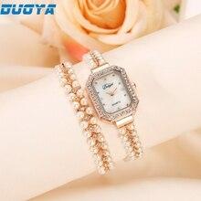 Duoya Trend Leisure Womens Quartz Bracelet Watch Crystal Diamond Wrist Watch wholesale Free Transport Drop Transport