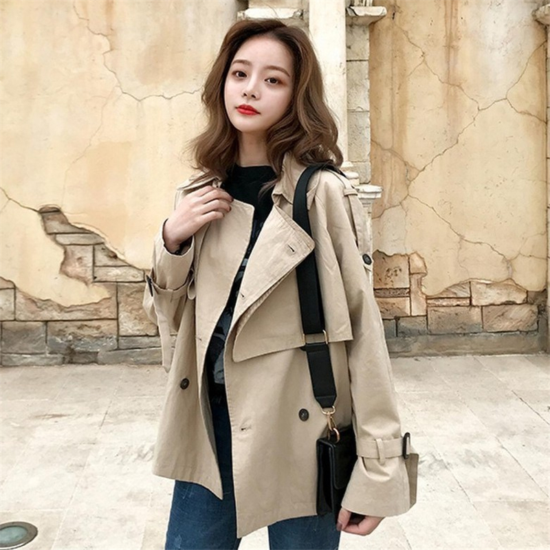 Trench   Coat for Women Short Elegant Casual Solid Classic Khaki Ladies Windbreaker Loose Outerwear Womens Tops and BlousesDS50535