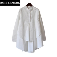 BUTTERMERE 3XL Plus Size Women Clothing Double Layer Ruched Shirt Stand Collar Long Shirt Button Up