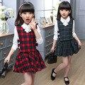 New Autumn 2016 Girls Dress Cotton Casual Girls Dresses Winter Thicken Long Sleeve Girl Dresses lattice Party Princess Dress