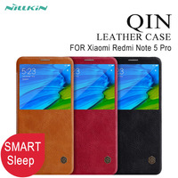Smart Case For Xiaomi Redmi Note 5 Pro Nillkin Qin Series PU Leather Flip Case Cover