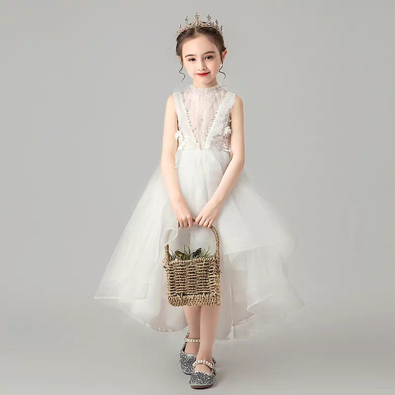 Children Little Girls Solid White Birthday Holiday Party Front 