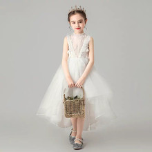 Children Little Girls Solid White Birthday Holiday Party Front Short Back Long Tail Dress Toddler Baby Host Tutu Mesh Dress Wear