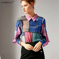 2019 Spring Patchwork long sleeve Plaid shirts women vintage satin shirts women work wear office Ruffles blouse silk shirt JF78