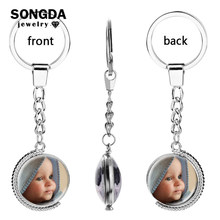 SONGDA Personalized Rotatable Double-sided Photo Keychain Family Member/Your Name/Fashion Logo/Lover Couple Key Ring Custom Gift(China)