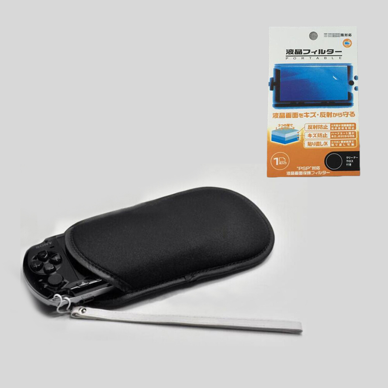 2in1 Protective Storage Bag Pouch+wrist lanyard Strap+Screen Protector Film Cover Case for Sony PlayStation PSP 1000 2000 3000