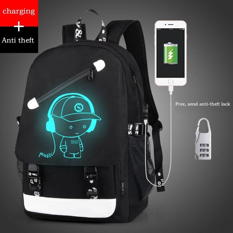 Style Women Backpack Cartoon USB Waterproof Anime Luminous School Bags For Teenagers Famous Brands Designer Backpack Men