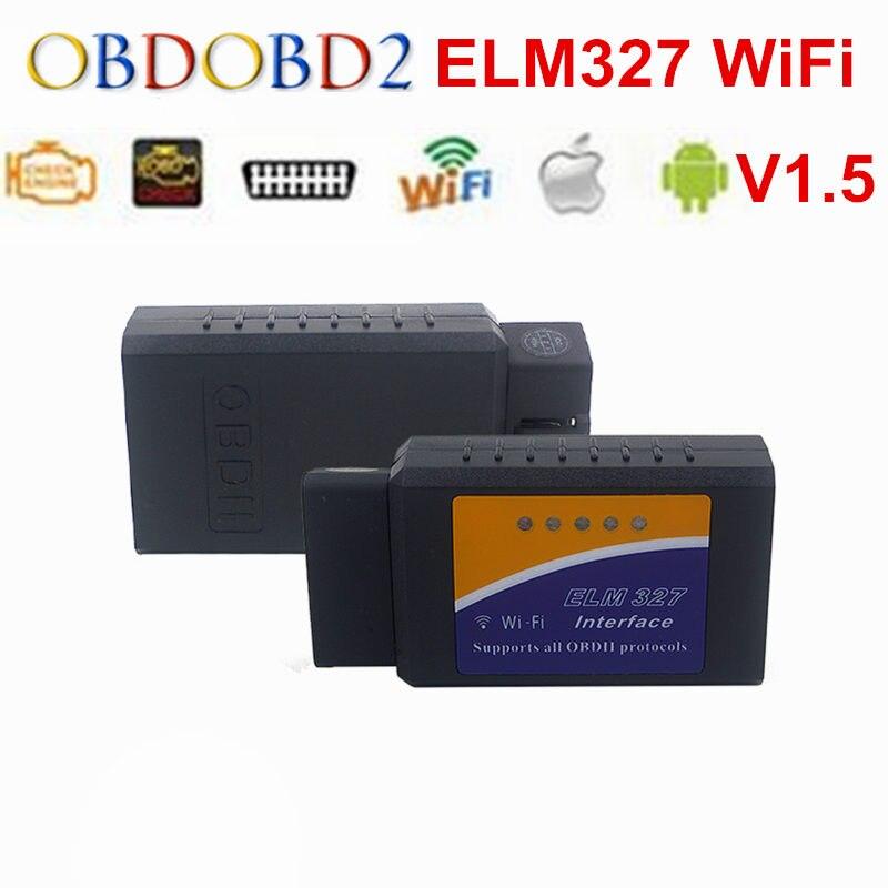 Prix pour Haute Qualité V1.5 ELM327 WiFi ELM 327 Prend En Charge Tous Les OBDII protocoles De Voiture Outil De Diagnostic OBD2 Lecteur de Code Scanner IOS Android PC