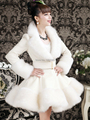 Artificial Faux Fox Fur Rex Rabbit Hair Coat Slim Inlay Fur Coat 2014 New Women Fall and Winter Cothes White Coat Free Shipping