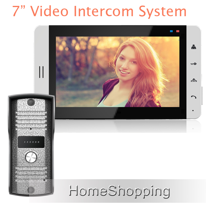 FREE SHIPPING New Wired 7 inch Color TFT Touch White Monitor Video Doorphone Intercom System + Night Vision Door Camera IN STOCK brand new 7 inch color screen video doorphone sperakerphone intercom system 1 monitor 700tvl coms camera free shipping