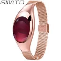 GIMTO Fashion Luxury Smart Women Bracelet Watch Rose Gold Narrow Band Bluetooth Smart Device For IOS