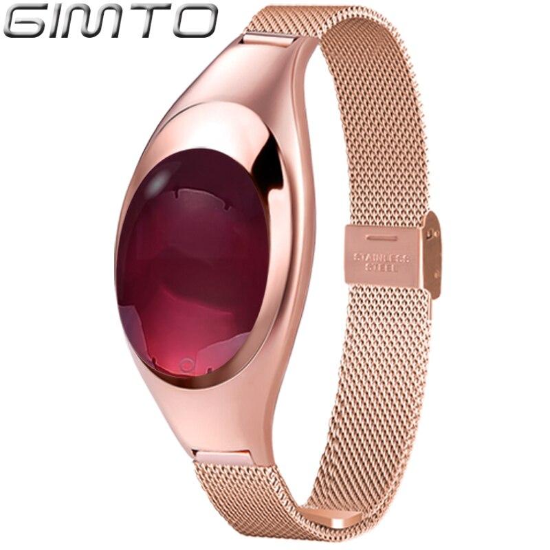 GIMTO Mode De Luxe Smart Femmes Bracelet Montre Or Rose Bande Étroite Bluetooth Dispositif Intelligent pour IOS Android et Téléphone Étanche