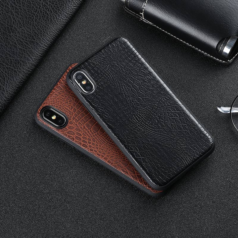 Vintage luxury crocodile leather business style anti-knock soft phone case coque cover For Apple iPhone X 6 6s plus 7 8 plus