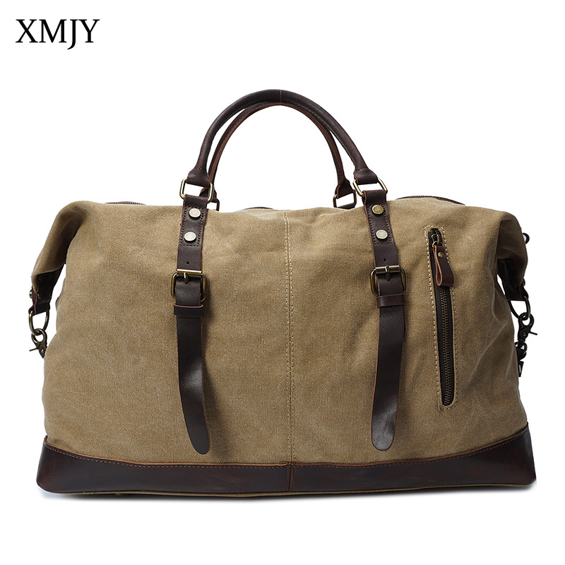 Фотография XMJY Men Travel Bags Canvas Leather Carry On Luggage Bag Large Capacity Multifunction Duff Tote For Weekend Travel Short Trip