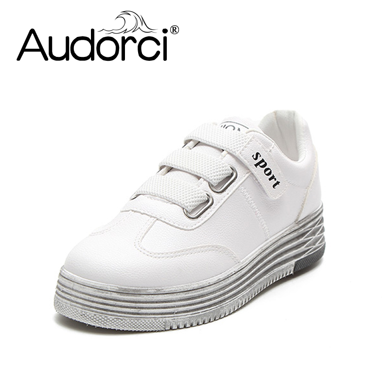 Audorci 2018 Summer Fashion Womens Casual Shoes Woman Light Outdoor Walking Shoes Female Students White Board Shoe Size 35-40