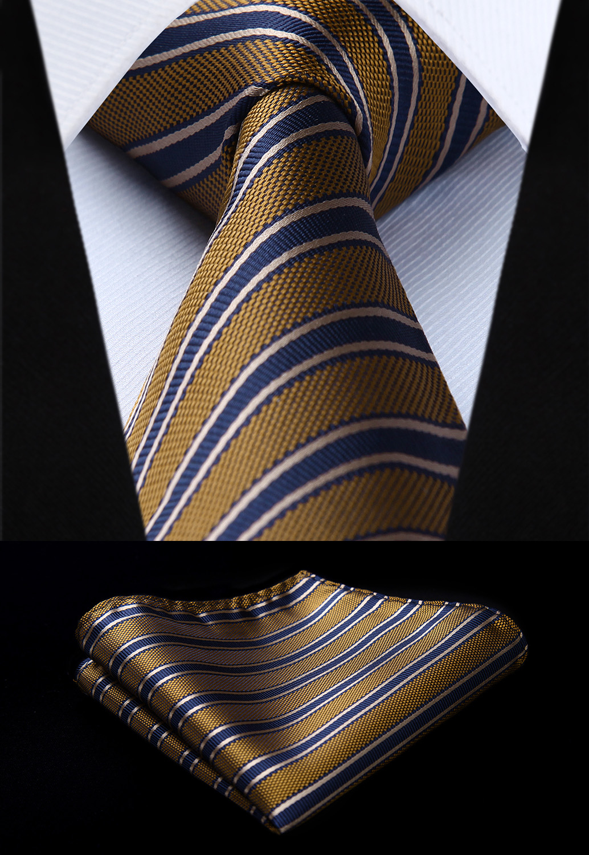 Woven Classic Tie Necktie  Brown Blue Striped 3.4