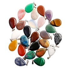 Plat Ovaal Warter Drop Teardrop Natuursteen Hanger Charme Accessoires 50Pcs Lot Diverse Ambachten Voor Sieraden Maken
