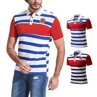 180a690ad5 ... ocio Camisetas manga corta algodón. Men Shirt Mens Striped Casual  Shirts Leisure Short Sleeve Tops Cotton