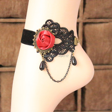 Handmade jewelry-Vintage Gothic black charpie ankle bracelets  Festival gifts  spring charpie anklets DIY products for women