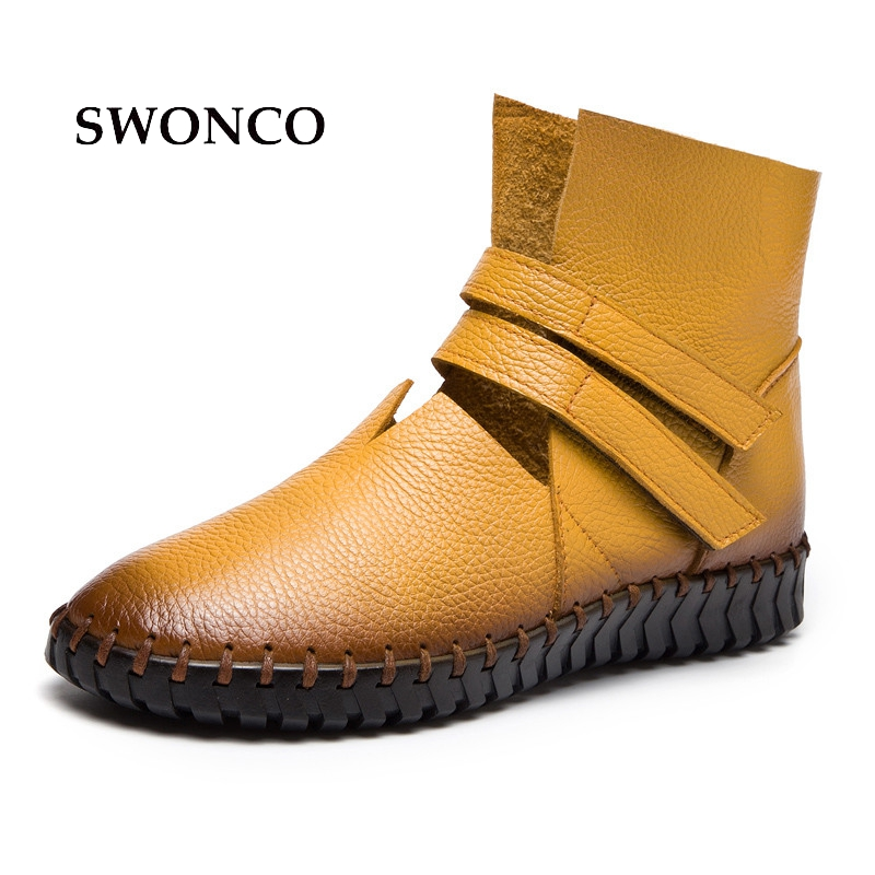 SWONCO Women's Ankle Boots 2018 Autumn Genuine Leather Ladies Shoes Ankle Boots For Women Flat Solid Color Woman Plus Size Shoes plus size 36 46 genuine leather women ankle boots hiking shoes women work safety shoes
