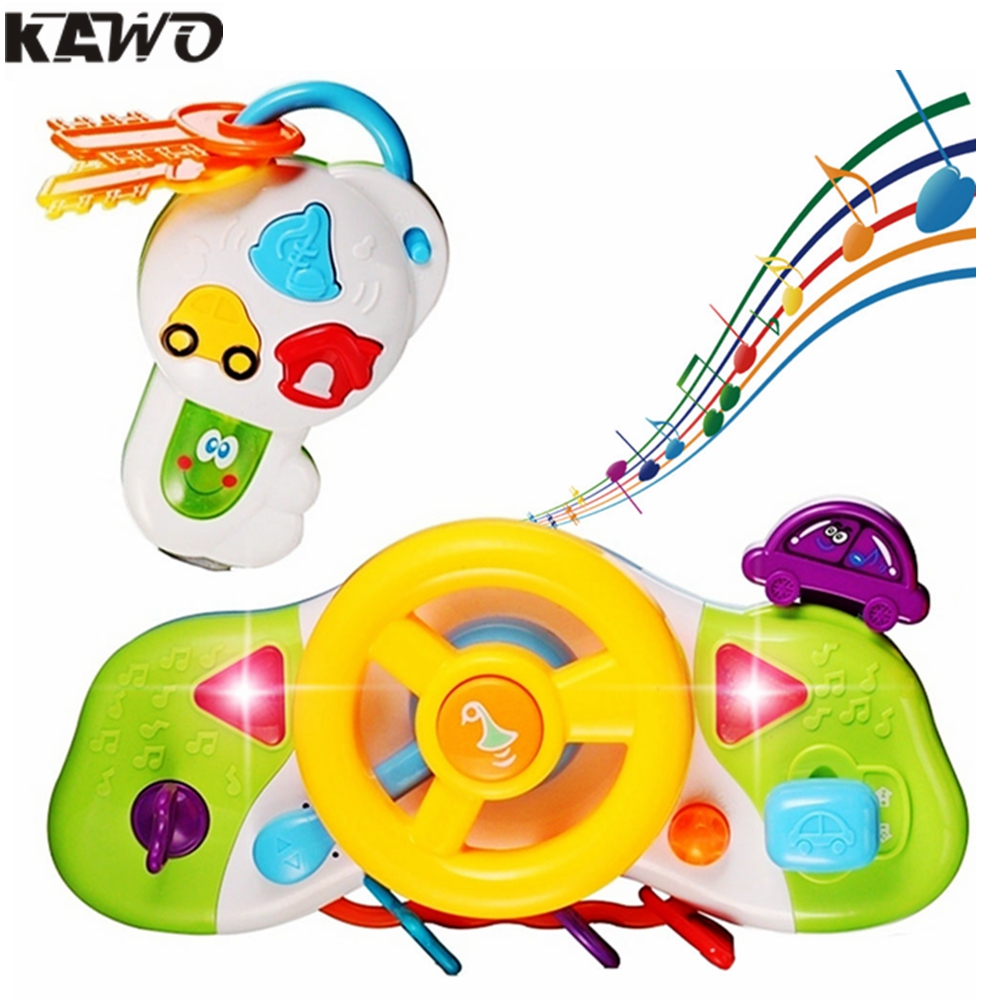 Kawo cartoon simulation pretend to drive steering wheel toy with music sound effect and flasing light