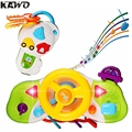 KAWO Cartoon Simulation Pretend-to-Drive Steering Wheel Toy with Music Sound Effect and Flasing Light