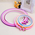New arrival! Plastic Cross Stitch Machine Adjustable Embroidery Hoop Ring Sewing 13-27.5cm Random Color