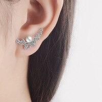 Женские ювелирные украшения Корея OL леди, 925 пробы серебро серьги стержня для вечерние простой Серьги с жемчугом романтический подарок для