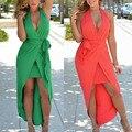 2016 de cola de Milano estilo Europeo Backless del hombro Sólido Vestido BOHO Bohamian Beach Halter Vendaje Vestidos Sexy Wrap Corte especial