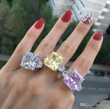 Solid Silver Wedding Rings Three Row Princess Cut Fine Jewelry 25 Carat Women Engagement Ring colorfish vintage 1 carat princess cut women ring set 925 solid sterling silver sparkling sona halo engagement wedding ring set