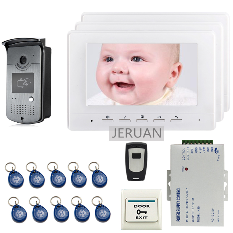 FREE SHIPPING 7 Screen Video Intercom Door Phone System + 3 White Monitor + Outdoor RFID Access Doorbell Camera + Remote
