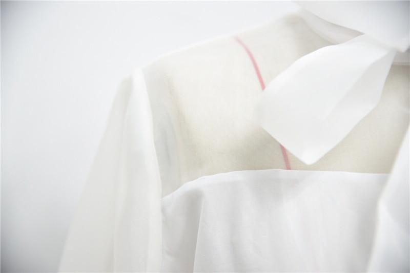 Mode Manches Revers Élégante Bowknot Blanche 2018 Gaze Blouse Tops À White Chemise Vêtements Translucide Femmes Travers Longues Lsysag Voir Bts YSqvTT