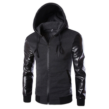 Spring Sport Jacket Men Hooded Running Jacket And Coat PU Leather Sleeve Slim Outerwear Coat Men