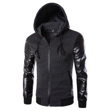 Spring Sport Jacket Men Hooded Running Jacket And Coat PU Leather Sleeve Slim Outerwear Coat Men Zipper Coat Sportswear 823133(China)