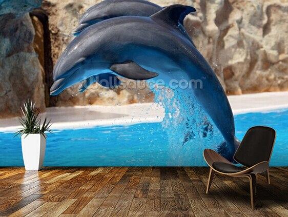 Custom Wallpaper For Children Dolphins 3D Mural Childrens Room Living