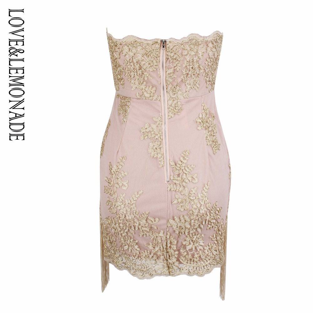 Love Lemonade Brassieres Tassel Fringed Lace Dress LM0869-in Dresses ... e4e9971689c4