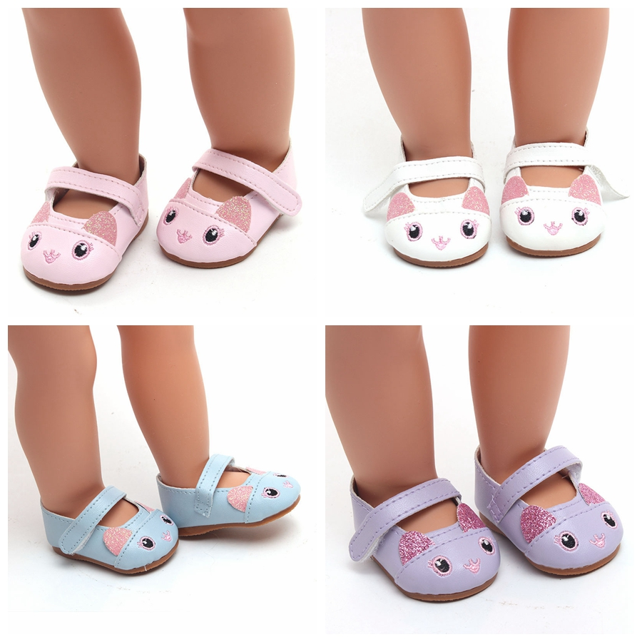 Fashion Leather Shoes Fits 18 Inch Doll 43CM Dolls Baby Doll DIY Shoes For 40cm 38cm Baby Doll Accessories Girl Gift image