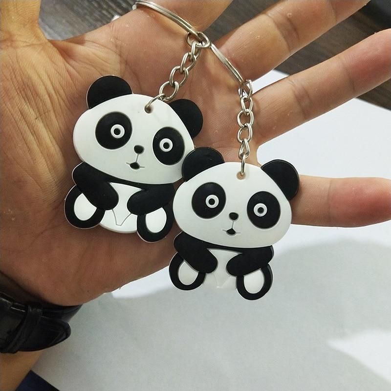 2pc Cute Cartoon Panda Keychain Keyring Bag Pendant Silicone Animals Panda Handbag Key Ring Chain Women Girls Gift For 2018
