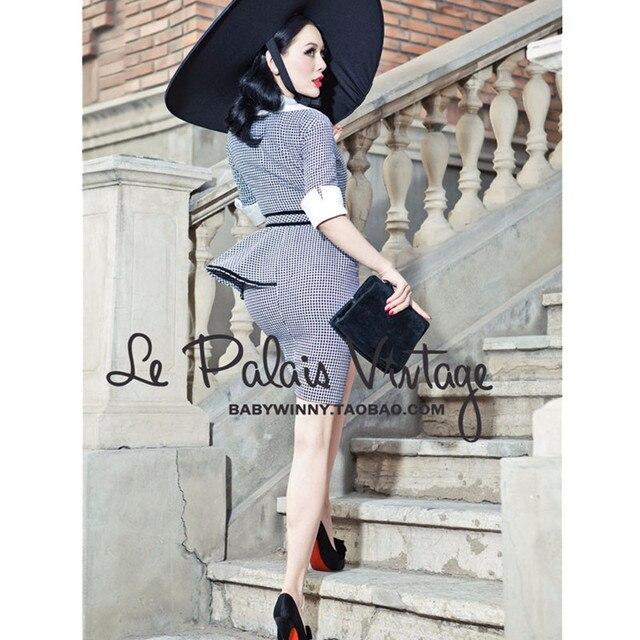 1161d0842db 30- le palais vintage 50s elegant gingham peplum wiggle pencil shirt dress  office work wear pinup dresses plus size vestidos