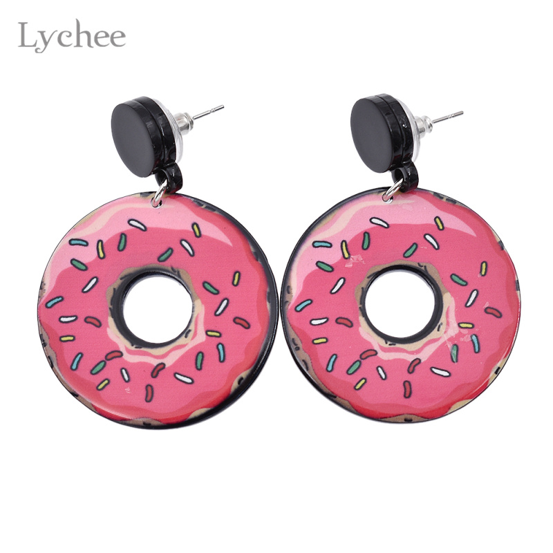 Lychee Acrylic Cute Pink Donut Drop Earrings Candy Color Doughnut Dangle Earrings Jewelry for Women ...