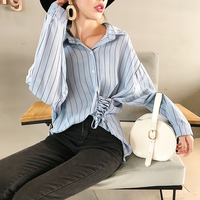 OL Full Striped Shirt Button Turn down Collar Top Long Elegant Summer Blusas Irregular Brief Tie Lace Up Loose Slim 4xl Blouse