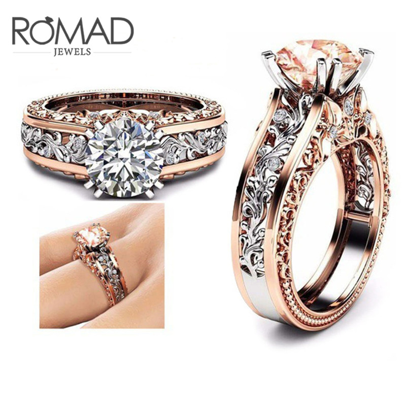 Romad Size 5 To 12 Wedding Rings For Women Stainless Steel Champagne Round Aaa Zircon Charm Ring Men Wedding Engagement Jewelry