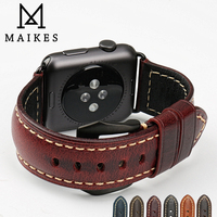 MAIKES Red Vintage Genuine Cow Leather Watch Strap Bracelet Watch Accessories For Apple Watch Band 42mm