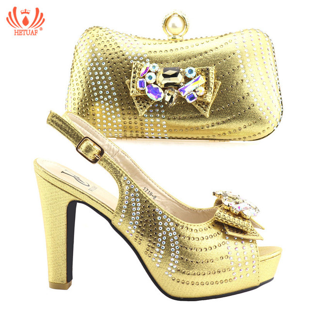 17a59d4637b3 2019 Gold Color High Heels 9.5cm Shoes and Bag To Match Italian African  Wedding Shoes and Bag Set Matching Italian Shoe and B