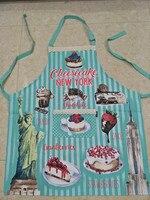 Bleu Cuisine Adulte Tablier Femme Doux Gâteau Au Fromage New York Stawberries Avental Tablier Cuisine Chasuble Tablier
