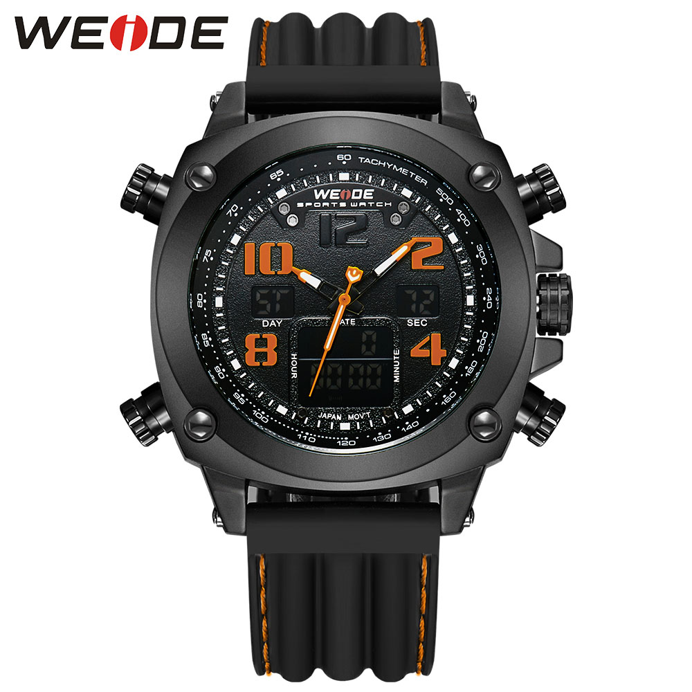 WEIDE Luxury Brand Men Sports Watches Men's Quartz LED Clock Military Watch Outdoor Casual Wristwatches Relogio Masculino weide new men quartz casual watch army military sports watch waterproof back light men watches alarm clock multiple time zone